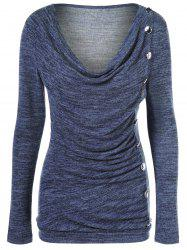 Side Button Cowl Neck Knitted Long Sleeve Sweater - PURPLISH BLUE