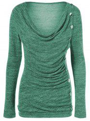 Side Button Cowl Neck Knitted Sweater - JADE GREEN