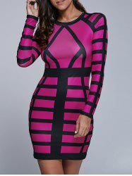 Long Sleeve Color Block Bodycon Mini Dress -
