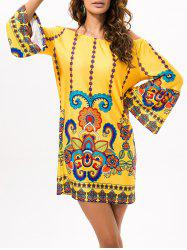 Off The Shoulder Cashew Nuts Mini Dress -