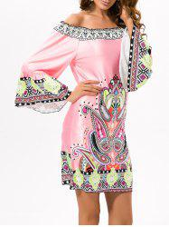 Off Shoulder Printed Ethnic Dress -
