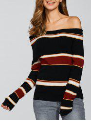 À rayures Off The Shoulder Jumper - Multicolore S