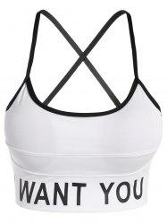 Slim Criss-Cross Padded Strappy Sports Yoga Bra - WHITE S