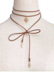 Rhinestone Flower Wrap Choker Necklace - BROWN