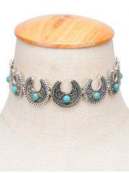 Vintage Moon Faux Turquoise Engraved Choker - SILVER