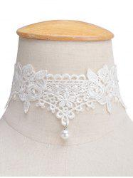 Faux Pearl Lace Floral Choker Necklace
