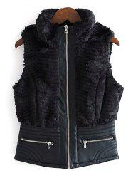 High Neck PU Leather Spliced Faux Fur Waistcoat