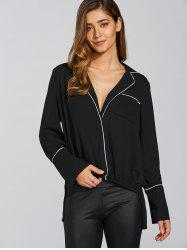 Plunging Neck Long Sleeve Loose Color Block Blouse - BLACK 2XL