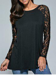 Lace Sleeve Sheer Comfy Blouse