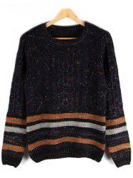 Striped Crew Neck Cable-Knit Sweater