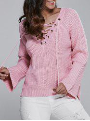 V Neck Long Sleeve Lace Up Sweater - PINK