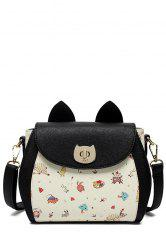Cartoon Printed Color Block Crossbody Bag