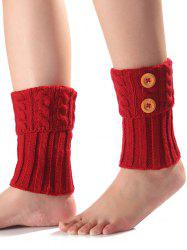Warm Buttons Flanging Knit Boot Cuffs -
