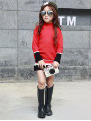 Color Block Stand Collar Knit Dress -