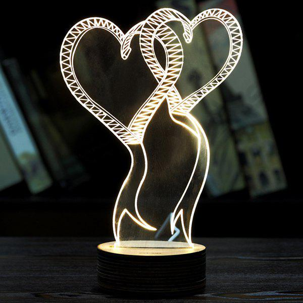 Double Love 3D LED Wooden Base Sleeping Atmosphere Visual Night Light