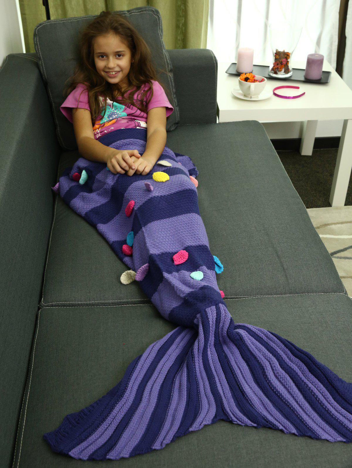 Colorful Patches Embellished Knitting Mermaid Tail BlanketHOME<br><br>Color: PURPLE; Type: Knitted; Material: Acrylic; Pattern Type: Stripe; Size(L*W)(CM): 110*80CM; Weight: 0.720kg; Package Contents: 1 x Blanket;