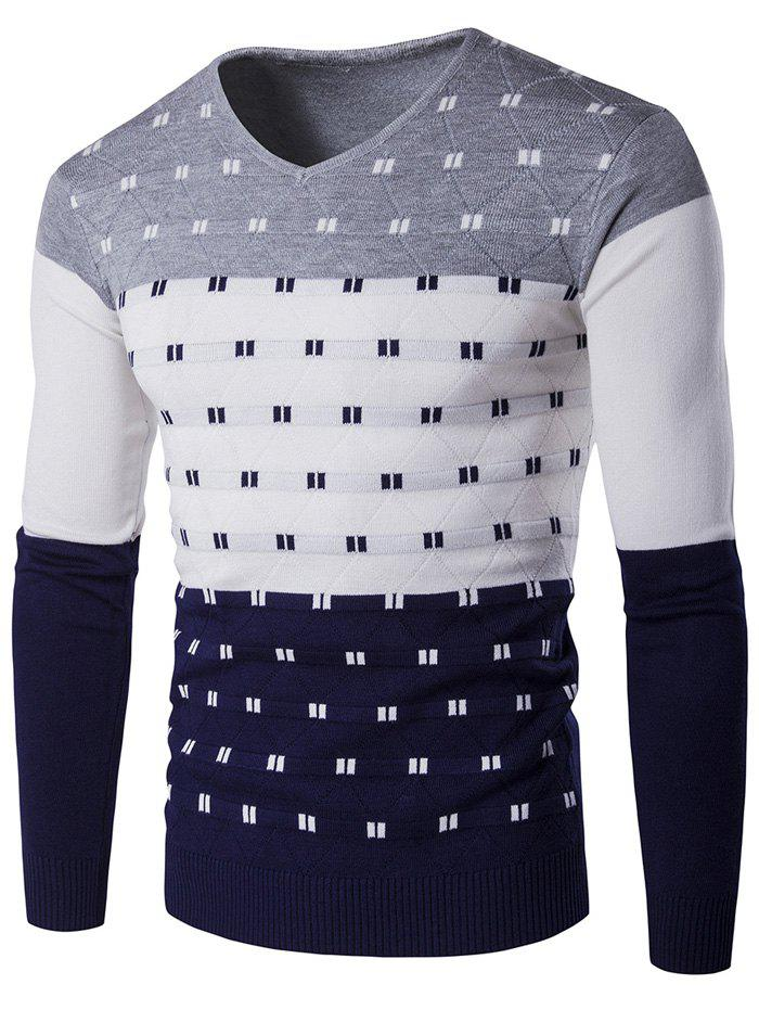Hot V-Neck Geometric Pattern Color Block Sweater