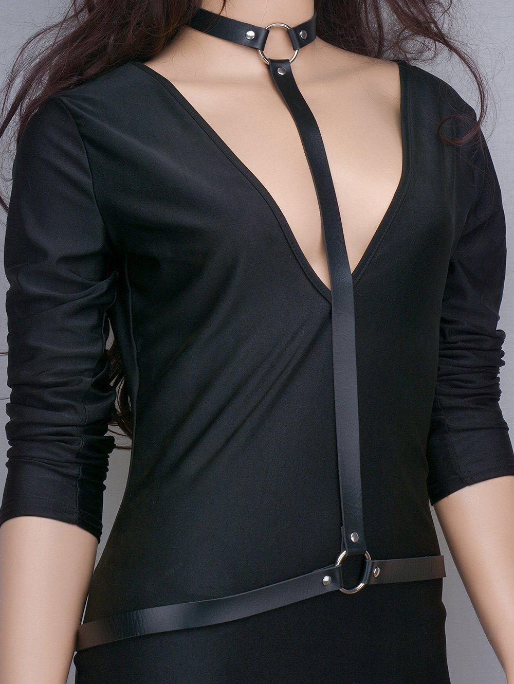 Trendy Punk Faux Leather Body Chain