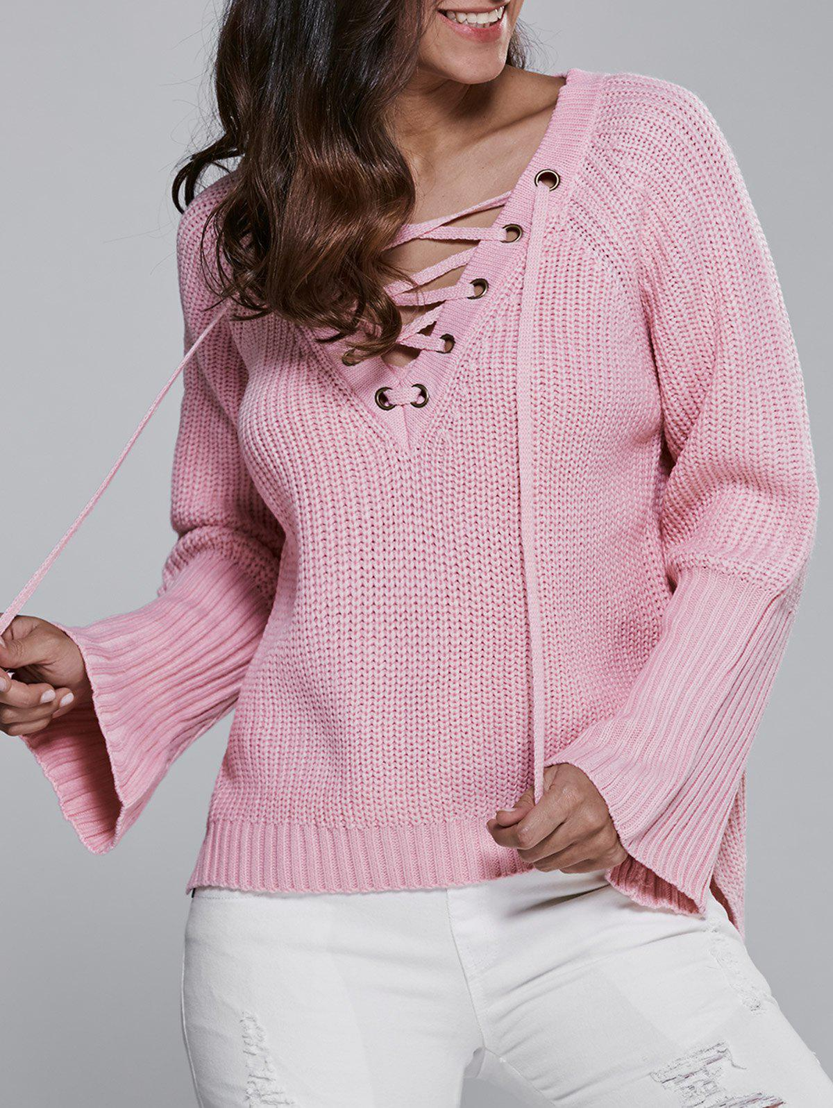 Discount V Neck Long Sleeve Lace Up Sweater