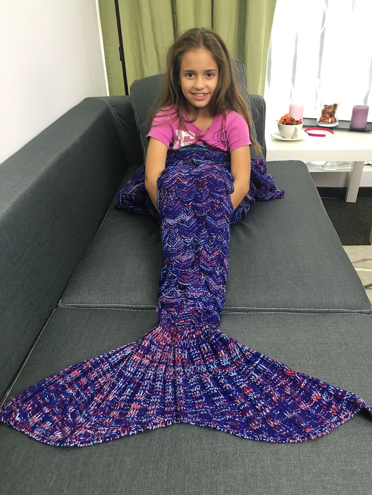 Fancy Super Soft Acrylic Knitted Mermaid Tail Style Blanket