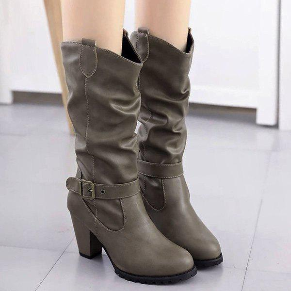 Affordable Buckle Strap Ruched Chunky Heel Boots