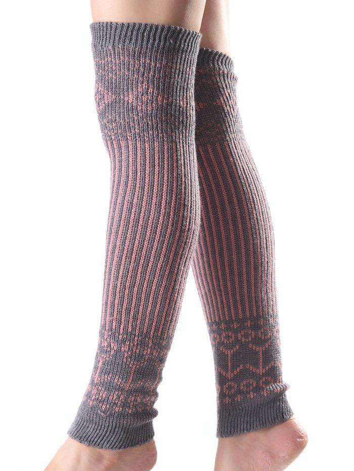Affordable Warm Rhombus Vertical Stripe Knit Leg Warmers