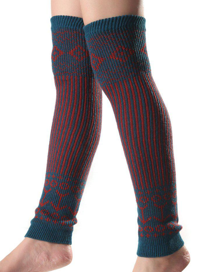 Unique Warm Rhombus Vertical Stripe Knit Leg Warmers