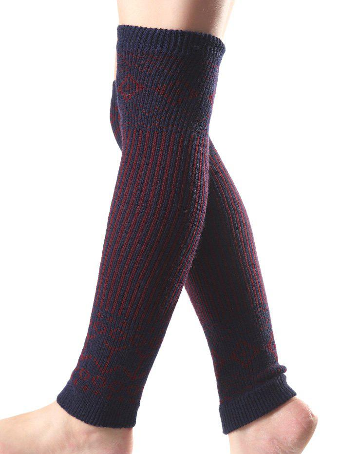 Cheap Warm Rhombus Vertical Stripe Knit Leg Warmers