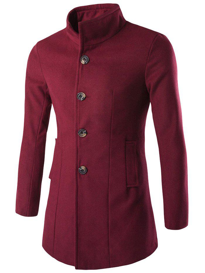 Outfit Slim-Fit Stand Collar Wool Blend Coat