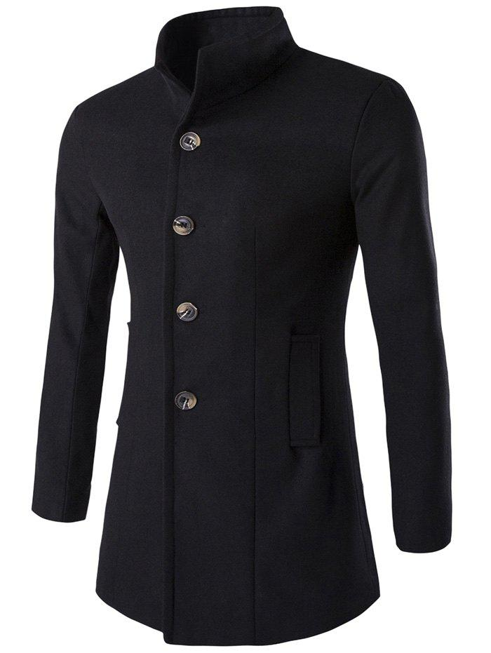 Hot Slim-Fit Stand Collar Wool Blend Coat