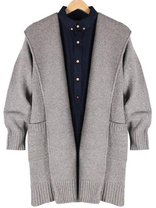Trendy Ribbed Pocket Front Hooded Longline Cardigan
