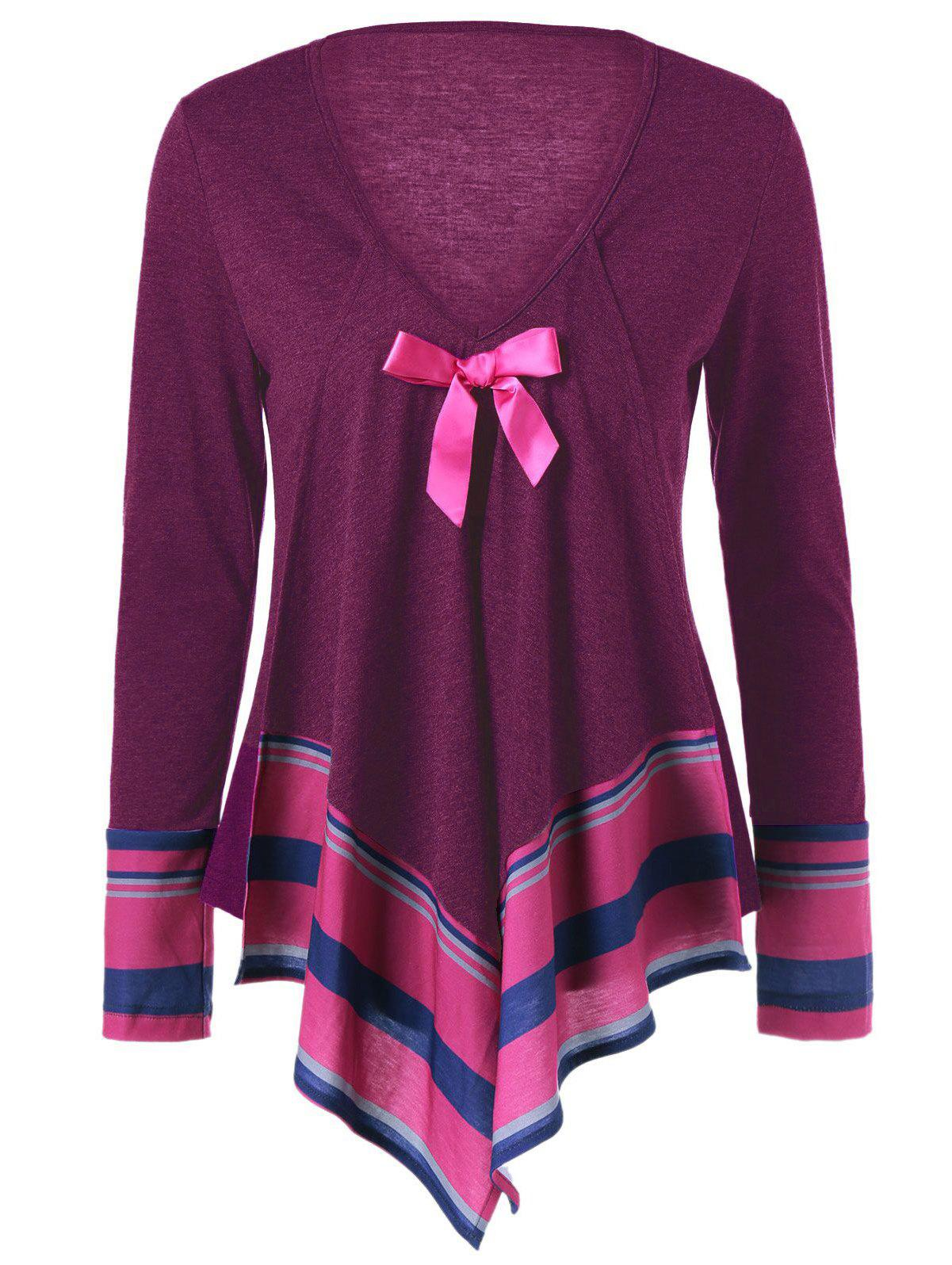Store Bowknot Embellished Asymmetrical T-Shirt