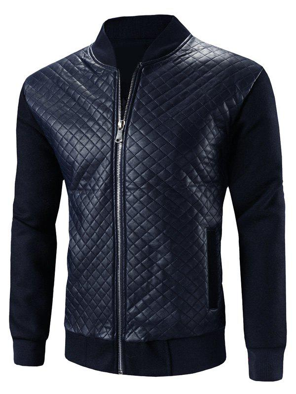 Best Stand Collar Argyle PU-Leather Splicing Design Zip-Up Jacket