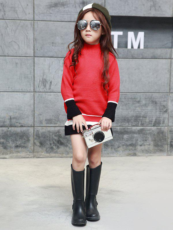 Trendy Color Block Stand Collar Knit Dress