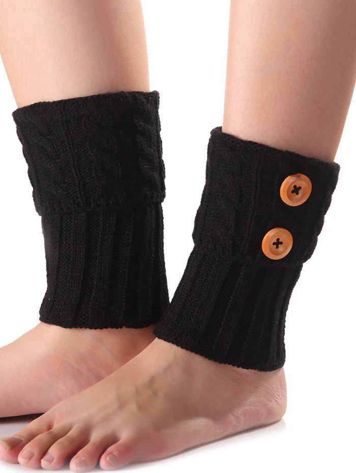 Affordable Warm Buttons Flanging Knit Boot Cuffs