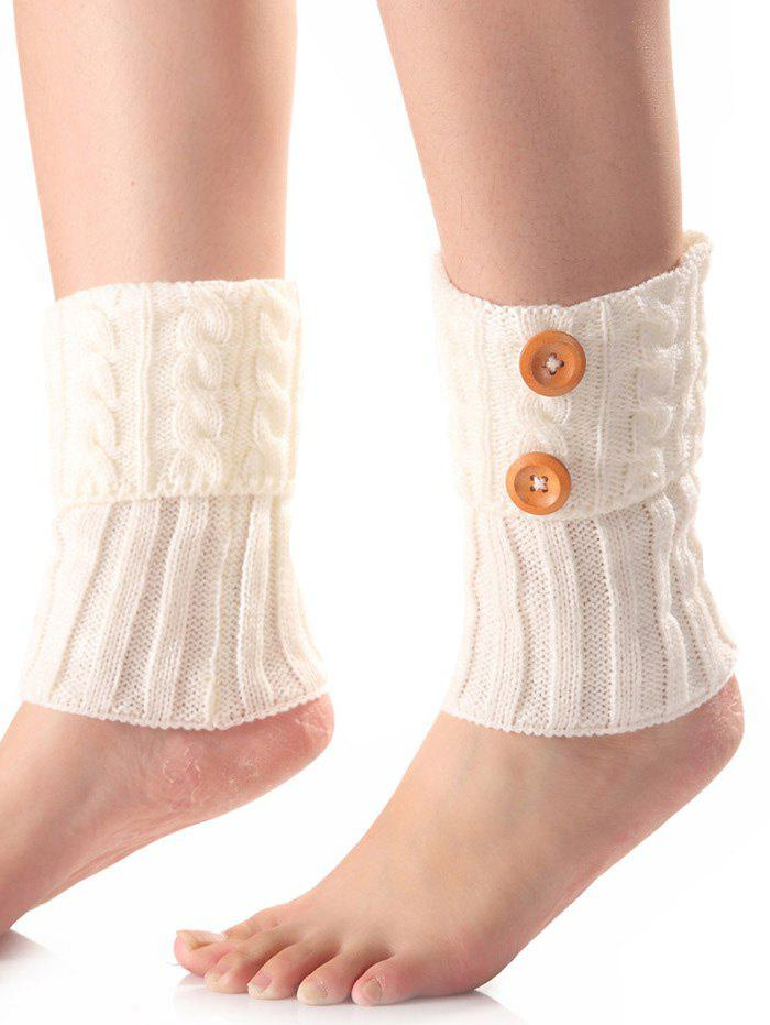New Warm Buttons Flanging Knit Boot Cuffs