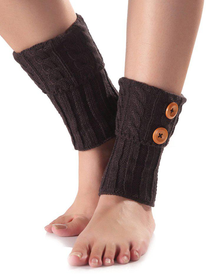 Store Warm Buttons Flanging Knit Boot Cuffs