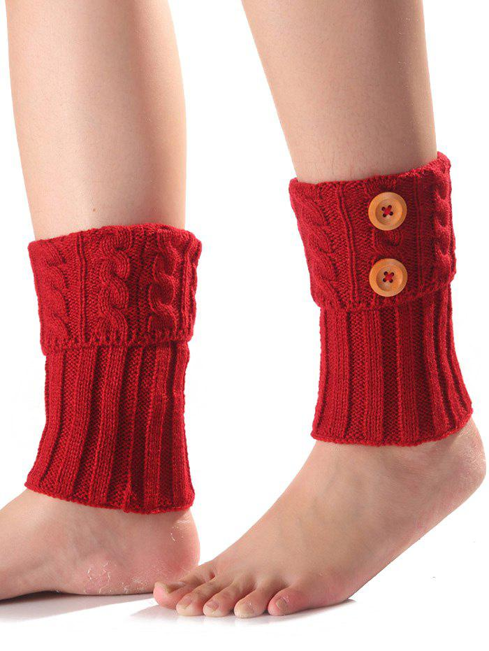 Best Warm Buttons Flanging Knit Boot Cuffs