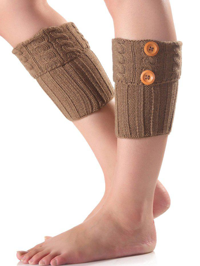 Discount Warm Buttons Flanging Knit Boot Cuffs
