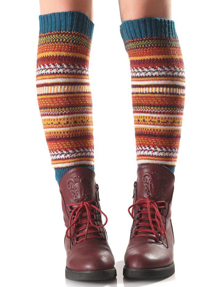 Warm Ethnic Multicolor Stripe Knit Leg WarmersACCESSORIES<br><br>Color: TURQUOISE; Type: Leg Warmers; Group: Adult; Gender: For Women; Style: Fashion; Pattern Type: Striped; Material: Spandex; Weight: 0.150kg; Package Contents: 1 x Leg Warmers(Pair);