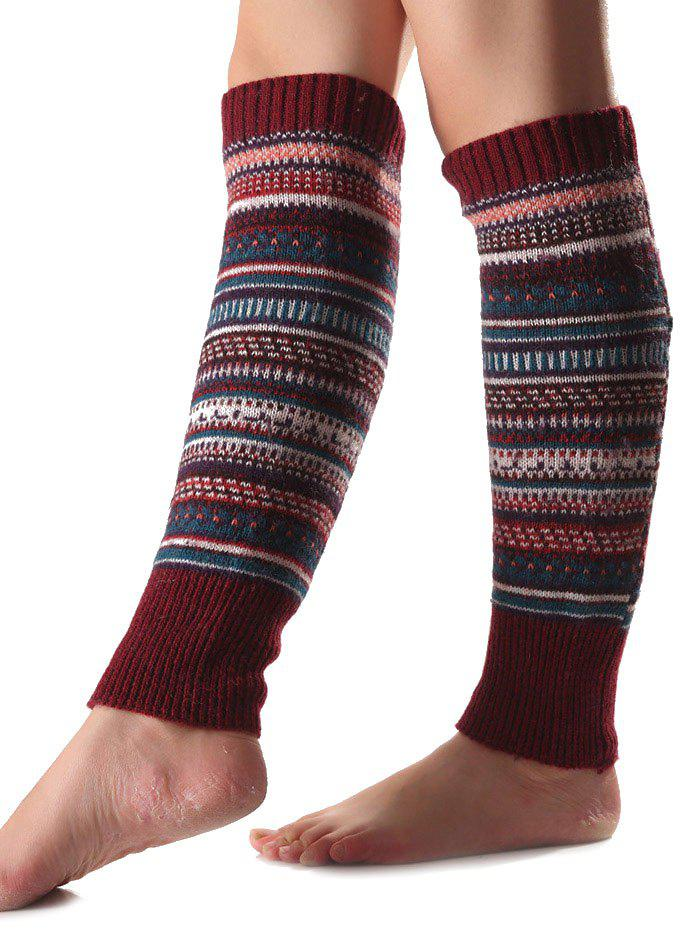 Warm Ethnic Multicolor Stripe Knit Leg WarmersACCESSORIES<br><br>Color: WINE RED; Type: Leg Warmers; Group: Adult; Gender: For Women; Style: Fashion; Pattern Type: Striped; Material: Spandex; Weight: 0.150kg; Package Contents: 1 x Leg Warmers(Pair);