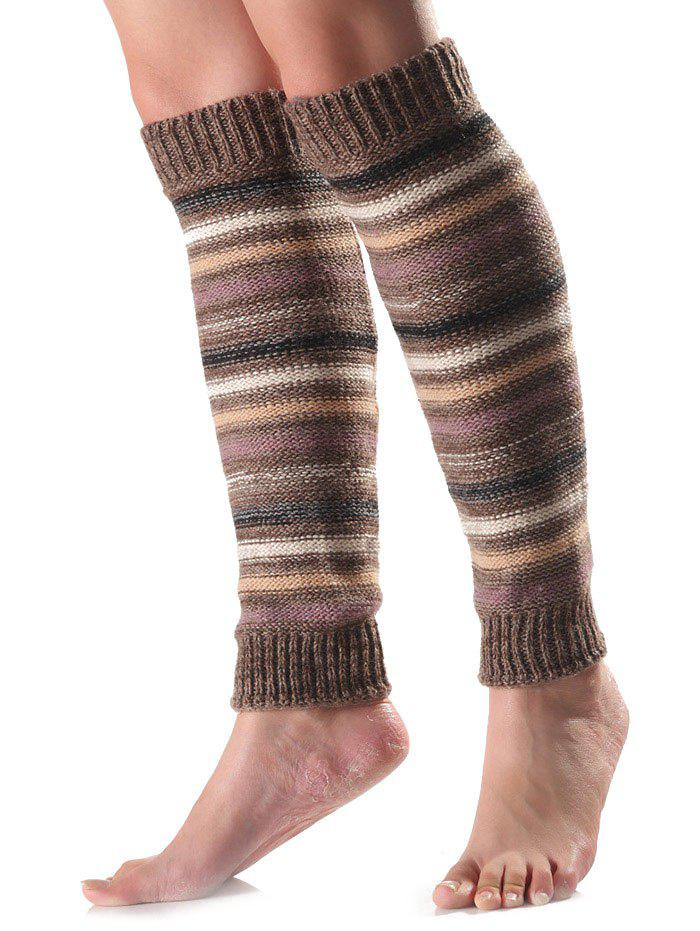Trendy Warm Horizontal Stripe Knit Leg Warmers