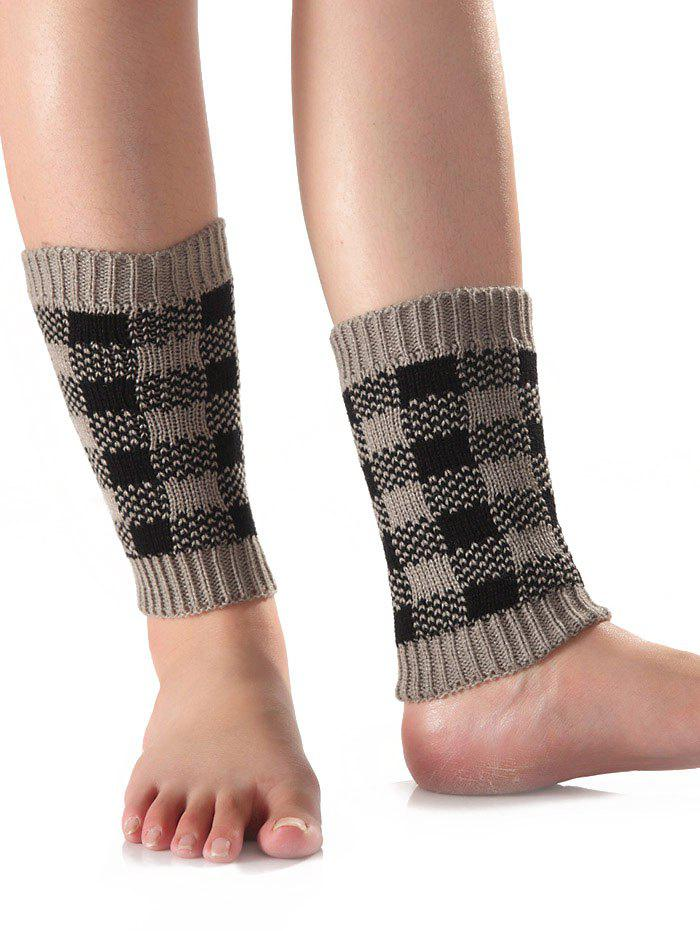 Outfits Warm Checkered Knit Boot Cuffs