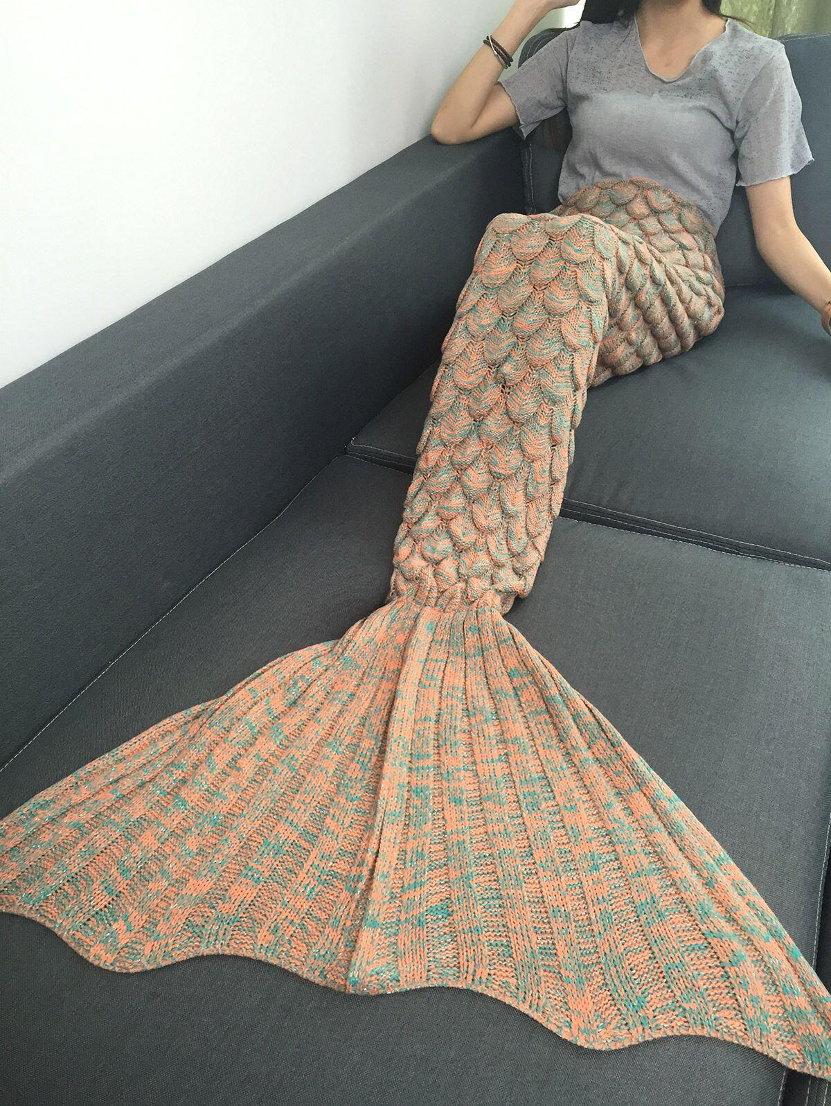 Sale Comfortable Fish Scale Knitted Sofa Mermaid Blanket