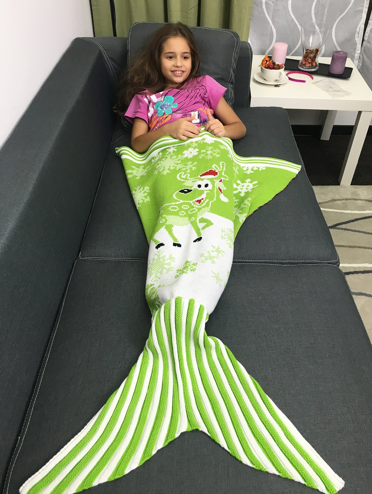 Best Snowflakes and Santa Claus Pattern Knitting Christmas Mermaid Blanket
