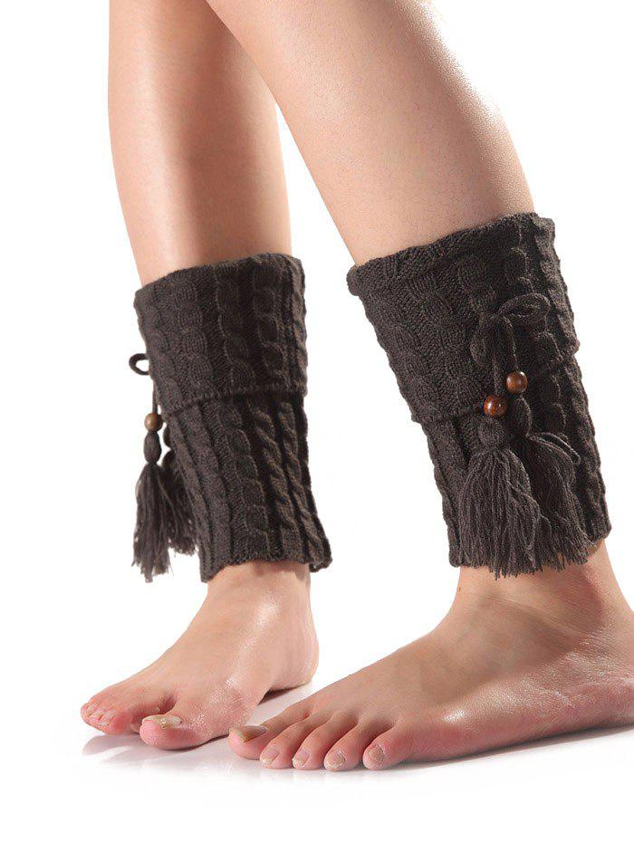Best Warm Tassel Pendant Flanging Knit Boot Cuffs