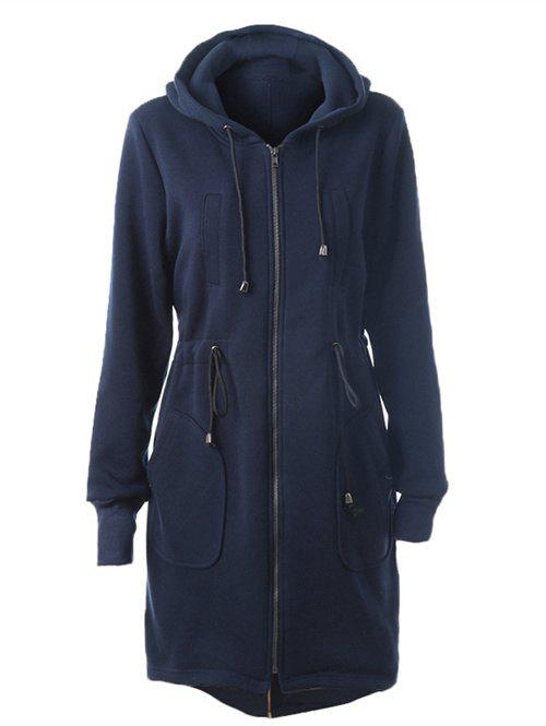 Outfit Drawstring Back Zipped Hooded Coat