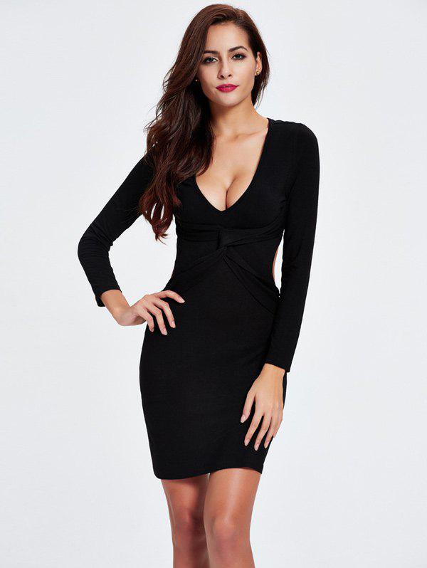 Buy Twist Backless Long Sleeve Plunge Club Skinny Dress