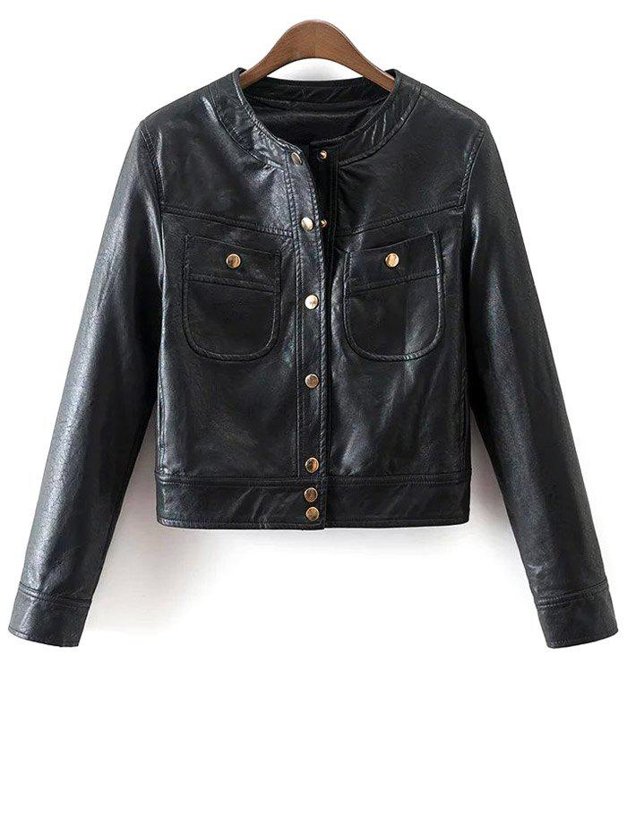 Store PU Leather Buttons Short Jacket