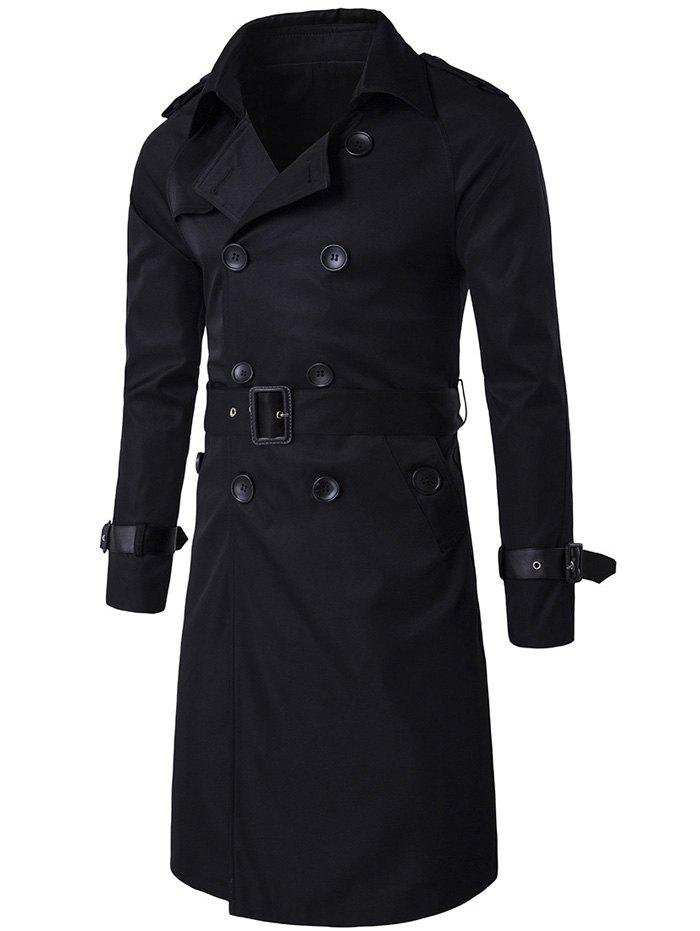 Epaulet Design Double Breasted Long Trench CoatMEN<br><br>Size: 2XL; Color: BLACK; Clothes Type: Trench; Style: Casual,Fashion; Material: Cotton,Polyester; Collar: Turn-down Collar; Shirt Length: Long; Sleeve Length: Long Sleeves; Season: Winter; Weight: 0.8920kg; Package Contents: 1 x Coat;